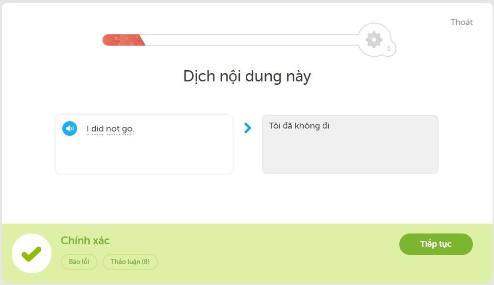 Dịch từ Tiếng Anh sang Tiếng Việt trong Duolingo