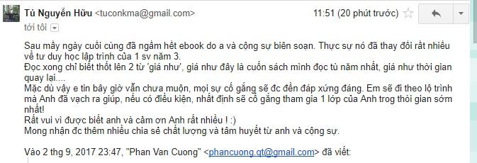 Phản hồi về ebook Bí quyết để có sự nghiệp lập trình từ số 0 - Nguyễn Hữu Tú