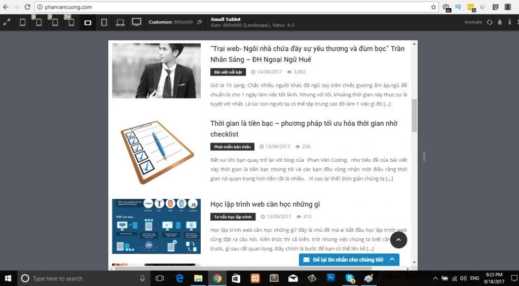 Website http://phanvancuong.com ở phiên bản Small Tablet ngang